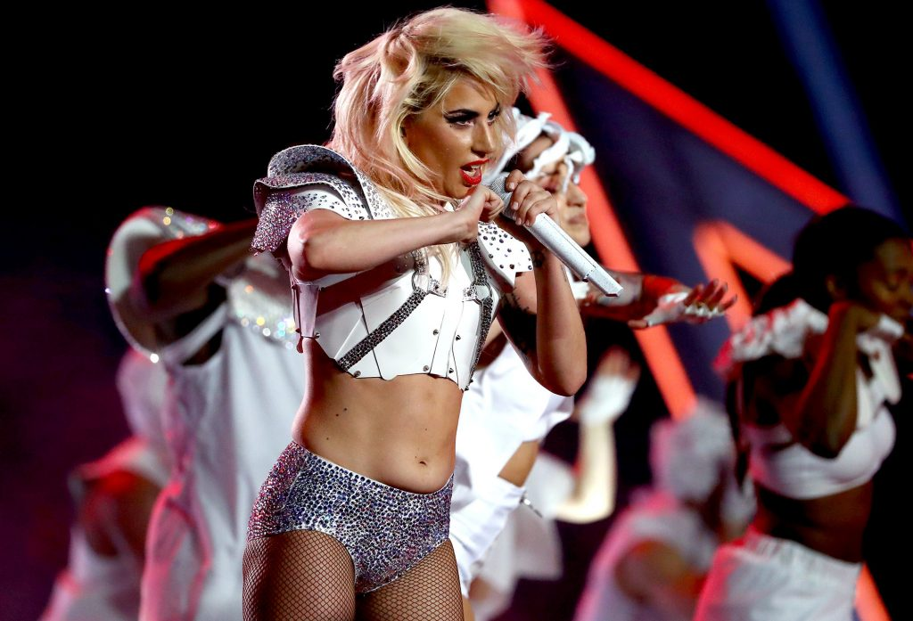 HOUSTON, TX - FEBRUARY 05: Lady Gaga performs during the Pepsi Zero Sugar Super Bowl 51 Halftime Show at NRG Stadium on February 5, 2017 in Houston, Texas. (Photo by Al Bello/Getty Images)