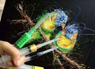 suster ini membuat lukisan dengan jarum suntik