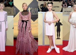 Red Carpet SAG Awards Dibanjiri Gaun Warna Pink