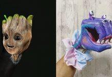 Seniman Asal Tokyo Ini Ciptakan Monster Tangan Bermodal Cat dan Benda-benda di Rumah